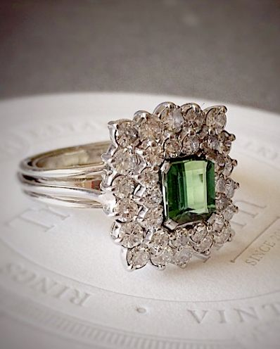 Tourmaline  + Diamond Cocktail Ring
