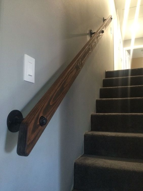 Lighting Basement Washroom Stairs: Pipe And Wood Hand Rail Made From Scratch.