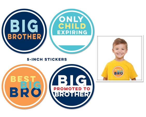 Let Big Brother celebrate his new role with adorable pics!  Set includes four bright, colourful stickers and give the appearance of a customised shirt - with the convenience of a removable sticker!  #stickybellies #bigbrother #babybrother #brothers #siblings #designerkids #photography #babyshop #babyshower #babygift #newbaby #pregnancy #littlebooteek