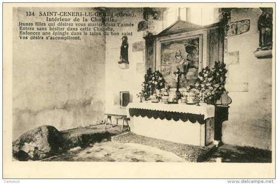 Wonderful interior postcard of the chapel at St Ceneri le Gerai - do you know the legend of the stone?  http://www.normandythenandnow.com/the-many-legends-of-saint-ceneri-le-gerei/