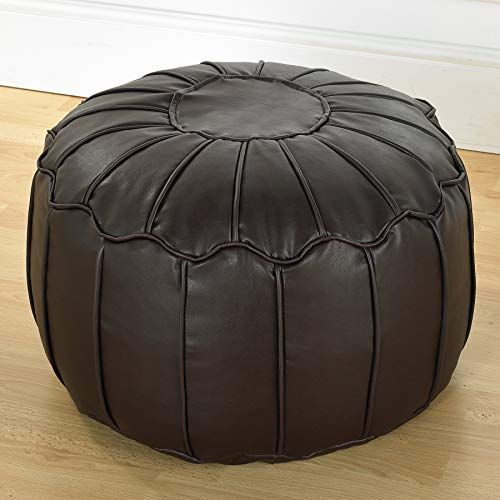Better Dreams Brown Faux Leather Moroccan Bean Bag Footstool Pouffe With Piped Edges In 2020 Leather Bean Bag Chair Bean Bag Pouffe Leather Bean Bag