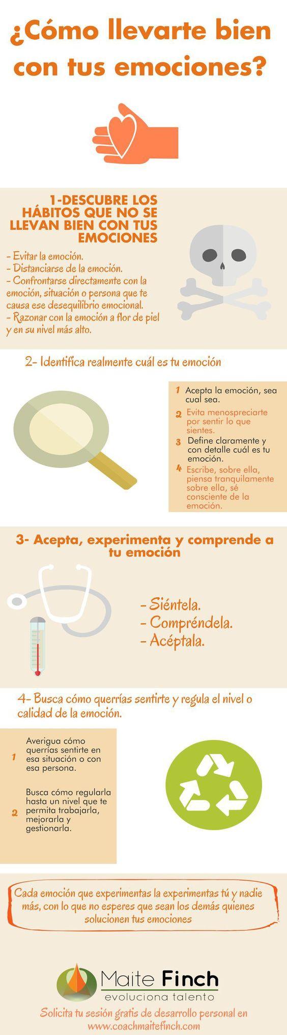 Cómo llevarte bien con tus emociones #infografia #infographic #psychology: