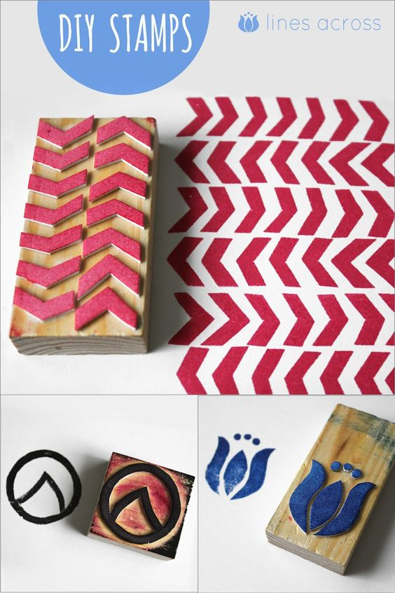 Make your own stamps with foam sheets and wood blocks! via Lines Across