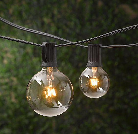 Globe String Lights Indoors : Restoration Hardware large globe indoor/outdoor light strings. USD 35 for 10 lights on a 11 strand ...