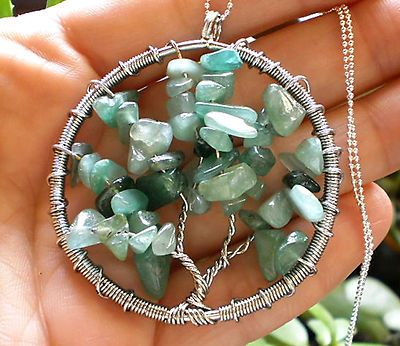 "Green Aventurine Stone Tree of Life Pendant #1 on 24"" Chain Wicca Pagan Druid"