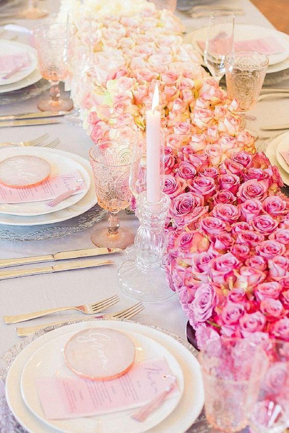 Ombre pink wedding decor