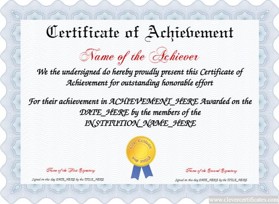 Doc500353 Certificates of Achievement Free Templates Free – Certificates of Achievement Free Templates