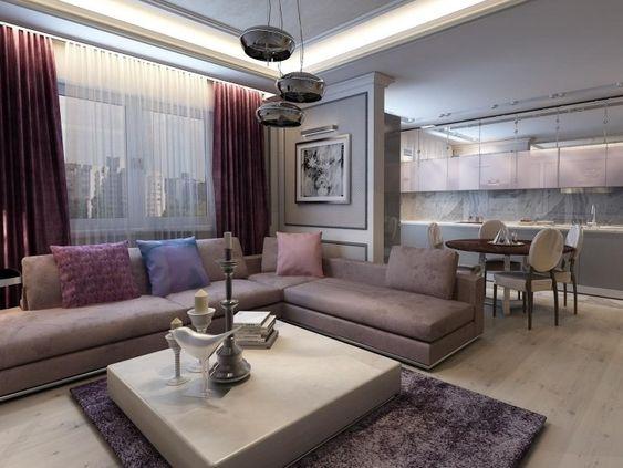 modernes Wohnzimmer mit Küche in Grau und Lila   Haus   Pinterest ...