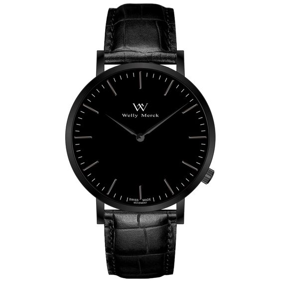 A round black case with classically curved lugs,elegant hue, the black hands match the case colors and underscore their prominent design,color-coordinated leather strap, inimitable and upscale watch.:
