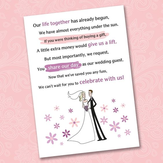 Wedding Gift Poem Pots And Pans : wedding wedding poems and more wedding money poem gifts wedding poems ...