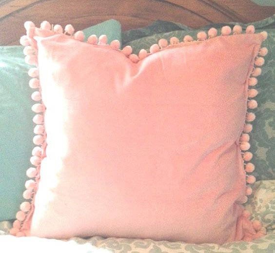 pink velvet pillow cover with pink pom pom ball trim other colors and the o 39 jays. Black Bedroom Furniture Sets. Home Design Ideas