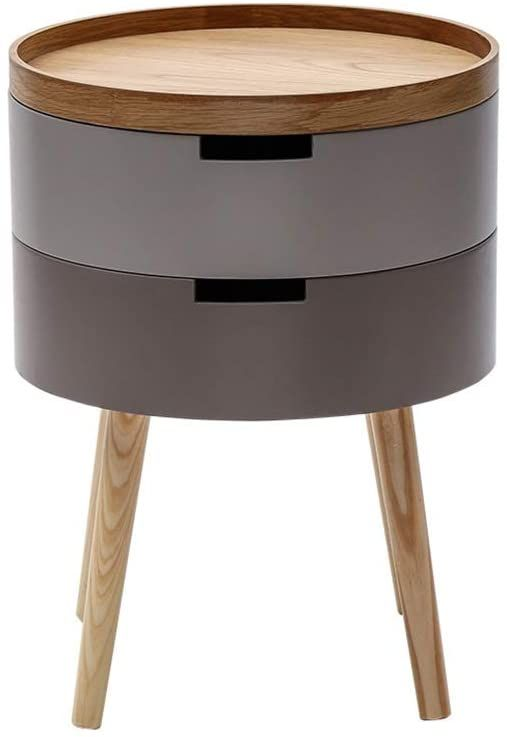 Table Nightstand Bedside Bedroom, Small Round End Table With Drawer