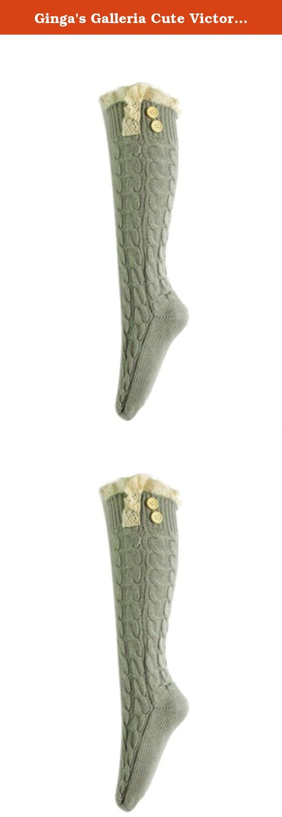 Ginga's Galleria Cute Victorian Vintage Twist Cable Knit Boot Socks with Lace & Buttons (Grey). New from Ginga's Galleria, extremely fashionable and warm cable knit boot socks. These adorable new socks are soft, warm and prefect for adding a flair of style to any pair of boots. Trimmed at the top in lace and embellished with wood buttons, these socks are perfect for adding a touch of whimsy to your fall and winter ensembles.