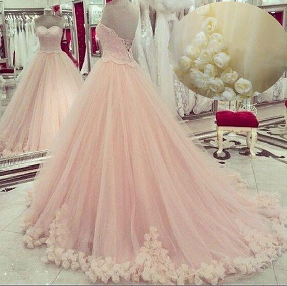 Rosa Organza Brautkleid Abendkleid Ballkleid Blumen Prinzessin Hochzeitskleider | eBay