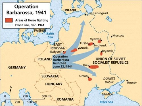 Image result for Hitler invasion of Russia map