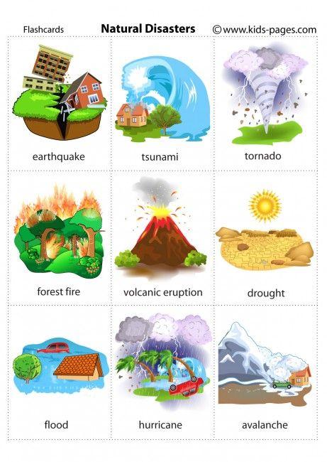 Natural Disasters Flashcard Desastres Naturales Para Ninos Desastres Naturales Contaminacion Ambiental Para Ninos