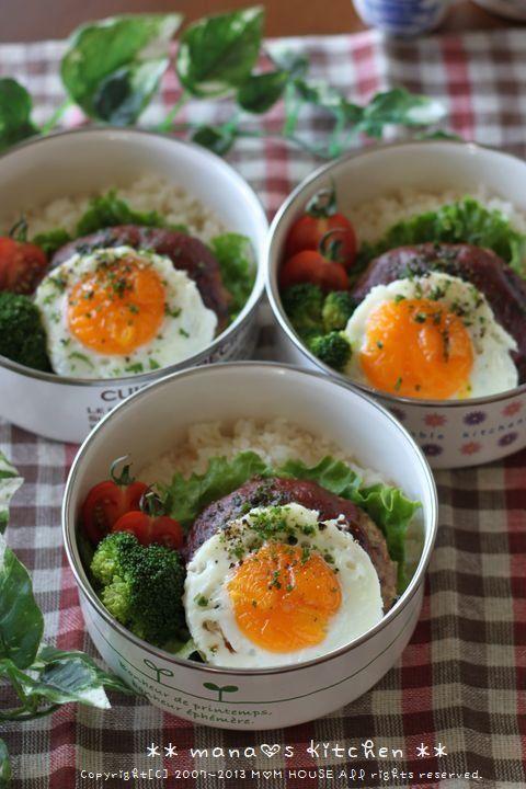 ロコモコ丼 ☆ ミニ豚キャベ丼♪ : ** mana's Kitchen **
