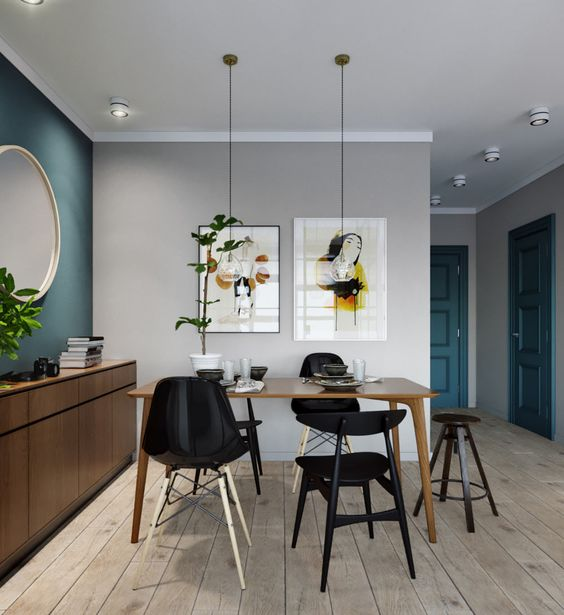 compact apartment ideas with wall art design