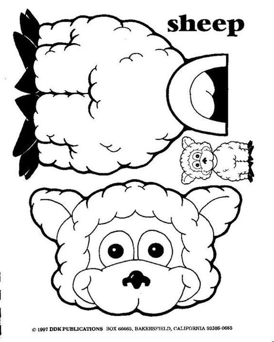 Sheep puppets and lost on pinterest for Cardboard sheep template
