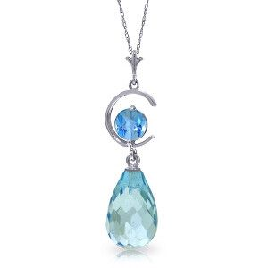 14K Solid White Gold Tomorrow We Live Blue Topaz Necklace - 4496-W