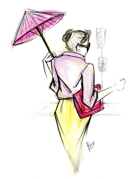 Shapes, Fashion illustration with Umbrella
