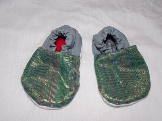 Baby Booties Birth to Nine Months Whimsical Shiny Iridescent Rainbow Material Light Weight Fabric by BettieJune on Etsy