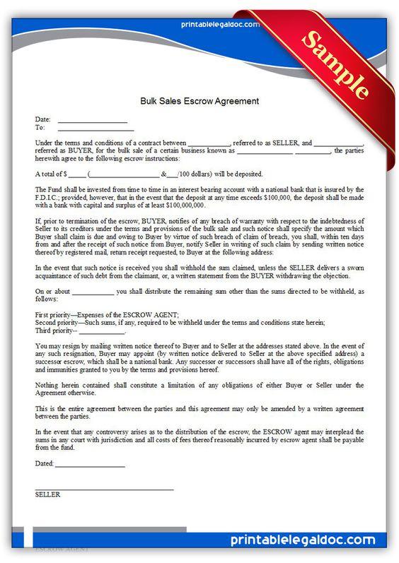 Free Printable Bulk Sales Escrow Agreement Sample Printable - boat purchase agreement