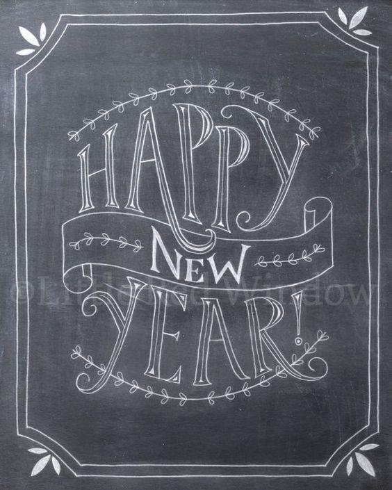 Télécharger Happy New Year Chalkboard imprimable imprimer--8 x 10--instantanée--vacances Art Print nouvel an