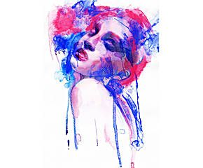 Póster adhesivo Woman in red and blue – 68x100