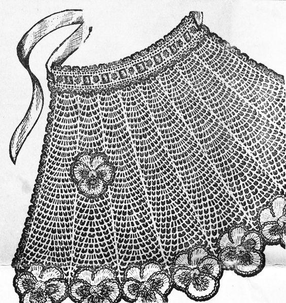 Vintage 1950s Crochet Tea Apron with Pansy Trim PDF 5017.