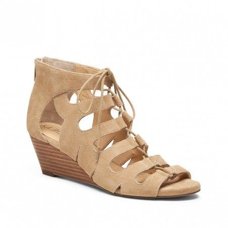 Nude suede wedges with a gladiator lace-up silhouette and stacked ...