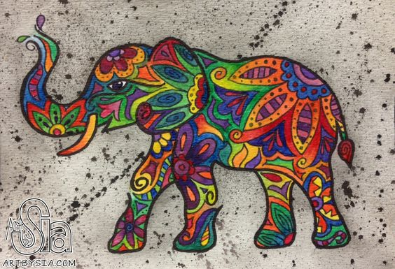 elephant artwork | mini watercolor elephant 2013 paintings