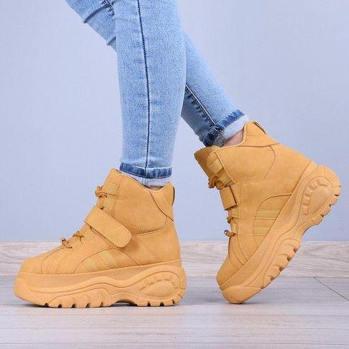 Botki Camelowe Zabudowane Adidasy 8111 High Top Sneakers Wedge Sneaker Sneakers