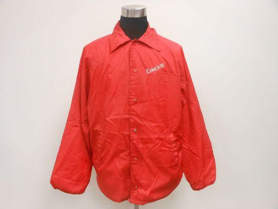 Vtg 80s Coca Cola COKE IS IT Light Button UP Windbreaker Jacket sz ...