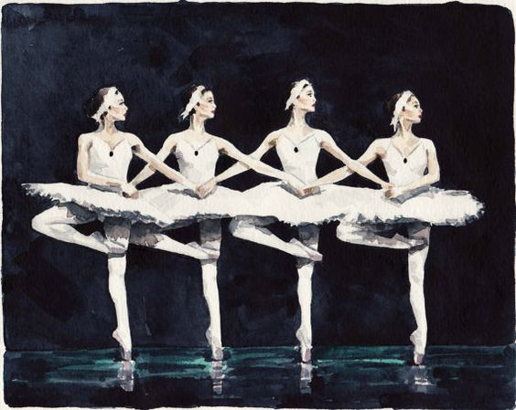 Four Swan Ballerinas  Giclee Print of Watercolor от LauraRowStudio