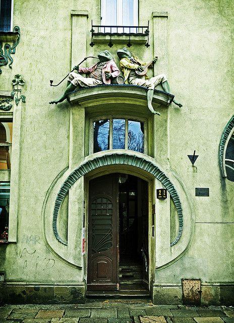 Green Art Nouveau door