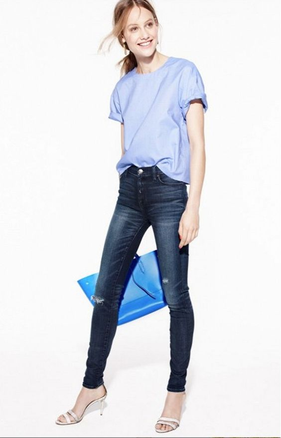 J.Crew Spring 2015: blue top, skinny jeans, silver metallic sandals and blue tote.