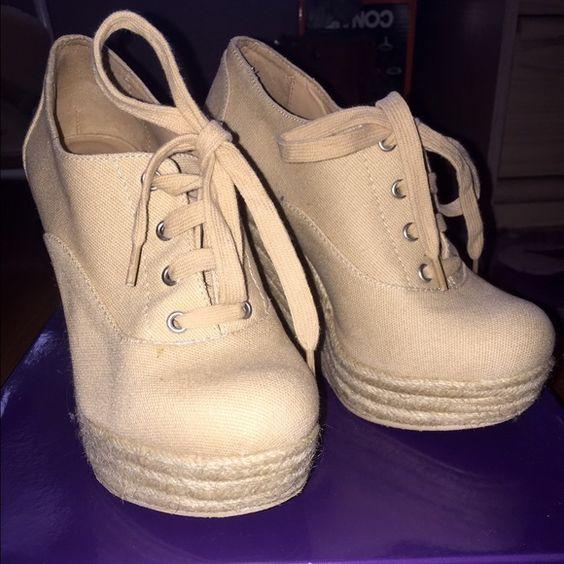 Beige Lace-Up Wedges Forever 21 beige lace-up wedges - SIZE 6 -  worn once - platform heel Forever 21 Shoes Wedges