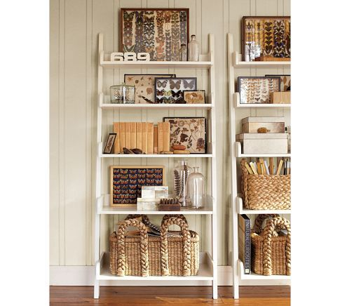 Leaning wall shelf from pottery barn toy storage idea for living room using decorative - Fancy picture of bedroom decoration using various bookshelf in bedroom ...