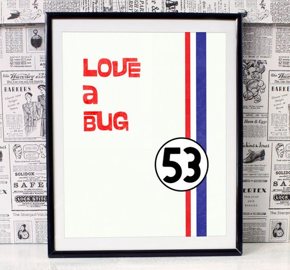 Title: The Love Bug inspired minimalist movie poster Sizes: 8x10 with an extra…