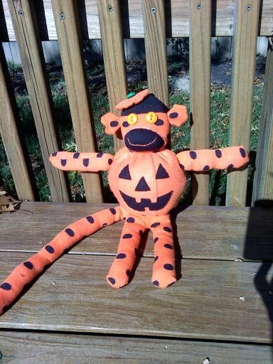 Jack O'Lantern Sock Monkey for Halloween!: