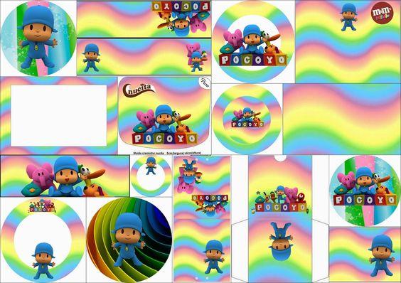 Pocoyó con Arco Iris: Etiquetas Candy Bar para Imprimir Gratis.