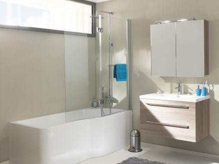 Ecran bain douche cyrus x2o 110 cm x 150 cm sans porte for Bain avec douche integree