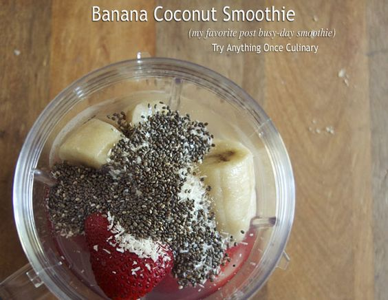 Banana coconut smoothie with strawberries too! Coconut water and protein powder make this a great post busy day (post workout) smoothie!