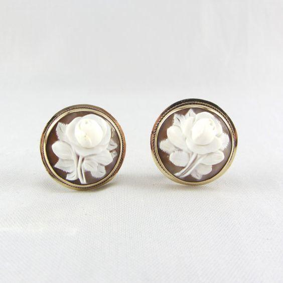 Antique 14K Gold Cameo Pierced Earrings Art Deco by zestfulvintage