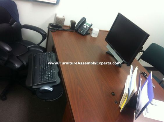 Office Depot Keyboard Tray Assembled And Installed In Baltimore MD On A Customer Desk By Furniture