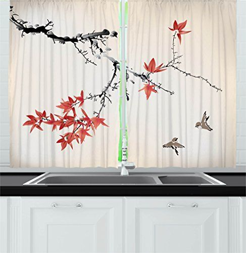 Ambesonne Japanese Kitchen Curtains Cherry Blossom Sakur Https Smile Dp B06xrz14fh Ref C Kitchen Curtains Japanese Inspired Bedroom Cafe Decor