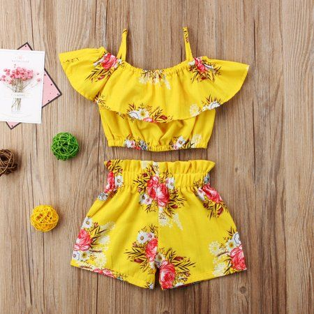 Summer Toddler Baby Girl Clothes Floral Halter Top+Shorts Pants Outfits 2pcs//Set