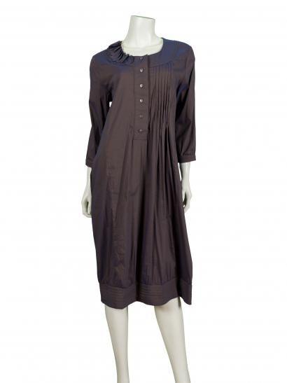 Damen Kleid mit Seide, taupe gangierend