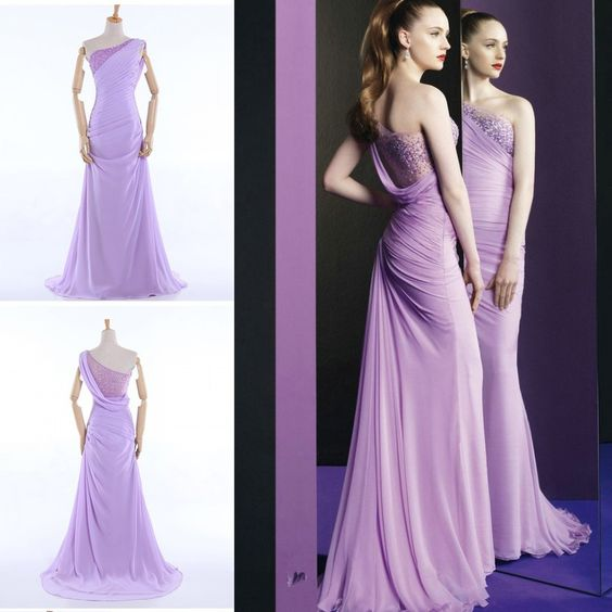 Find More Vestidos de Damas de Honor Information about Zuhair Murad inspirado Lavender gasa Sheer dama de honor de un hombro con cuentas acanalada una línea larga vestidos formales venta,High Quality Vestidos de Damas de Honor from Sao Tome Garments Co., Ltd. on Aliexpress.com